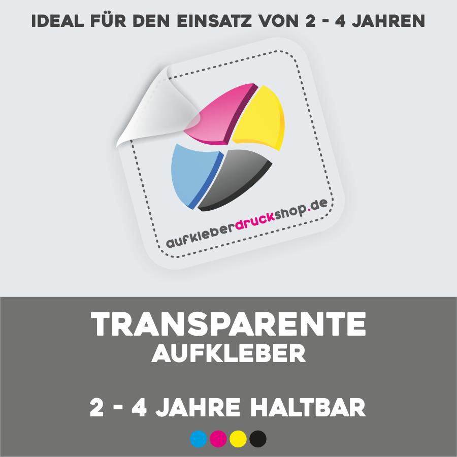 Transparente Aufkleber, 2 bis 4 Jahre haltbar
